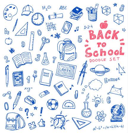 estudiando: Dibujado a mano conjunto de ilustración de signo de la escuela y el símbolo doodles elementos.