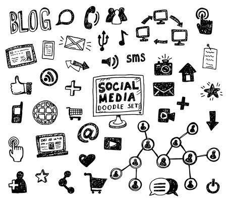 doodle text: Hand drawn illustration set of social media sign and symbol doodles elements.