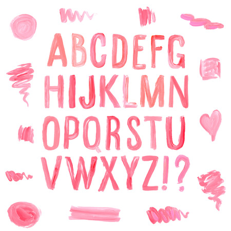 Lipstick and nail polish font and stains. Hand drawn red oil painting alphabet.