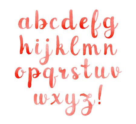alfabeto graffiti: Disegno a mano elegante acquerello carattere calligrafico per la progettazione.