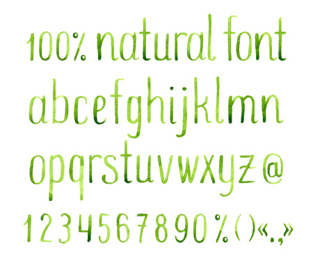 type lettering: Hand drawn watercolor green natural font.