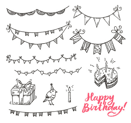 birthday backdrop: Happy dirthday doodle elements set.