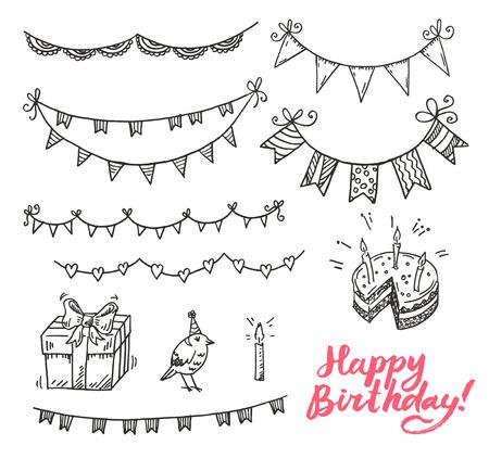 birthday hat: Happy dirthday doodle elements set.