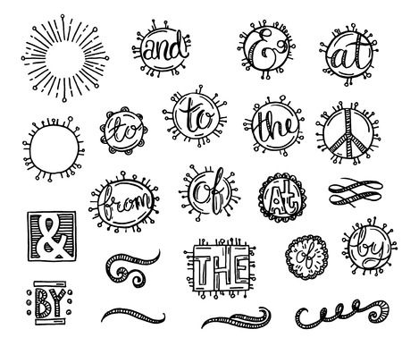 sunburst: Hand drawn set. Catchwords with, and, in, to, for, from, the, of, by. Illustration