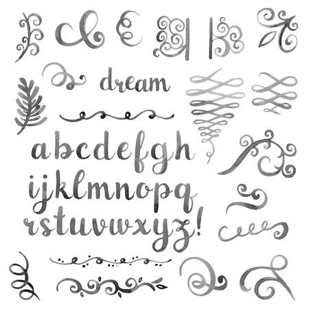 abecedario graffiti: Mano acuarela elegante dibujado fuente caligráfica
