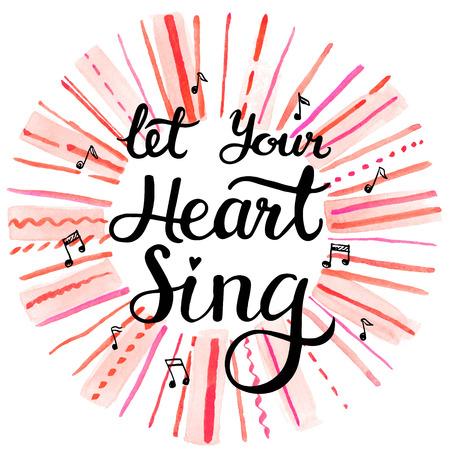 romaans: Laat uw hart zingen, handgetekende inspiratie belettering citaat