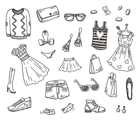 dessin au trait: Vêtements et accessoires femmes, dessinés à la main ensemble doodle Illustration
