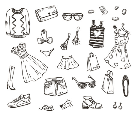 on line shopping: Women clothes and accessories, hand drawn doodle set