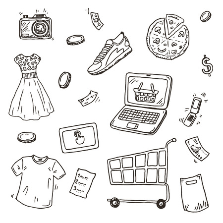 cash on hand: Hand drawn sketch set, E-commerce online shopping doodle icons collection Illustration