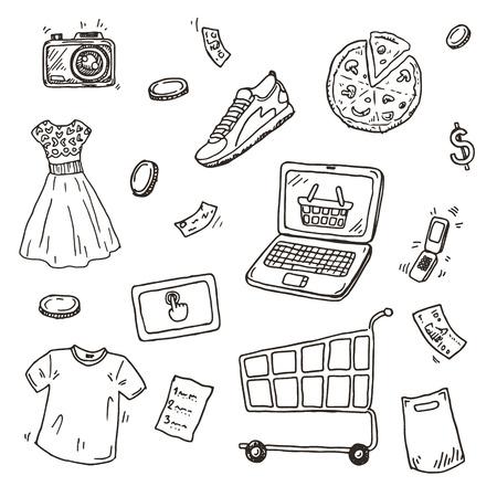 negozio: Set schizzo disegnato a mano, E-commerce shopping online icone doodle raccolta