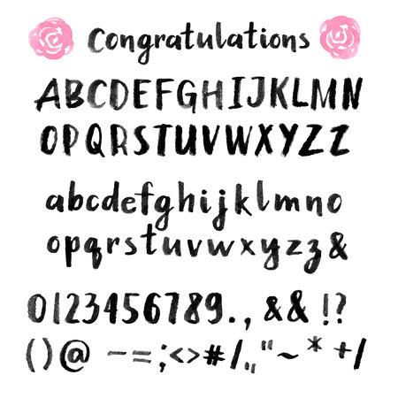 alphabet graffiti: Mano pennello disegnato carattere ictus Vettoriali