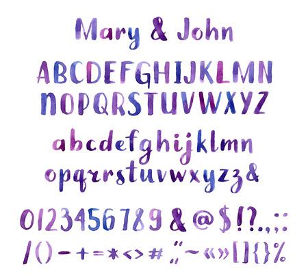 lettres alphabet: Main aquarelle dessin�e police artistique