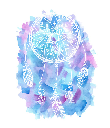 dreams: Hand drawn watercolor illustration of a dreamcatcher.