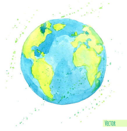 Hand drawn watercolor Earth, isolated illustration.