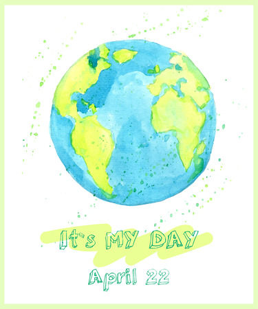 earth: Earth day illustration with hand drawn watercolor planet.