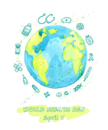 World Health Day illustration with watercolor Earth and hand drawn doodle medical sketches.