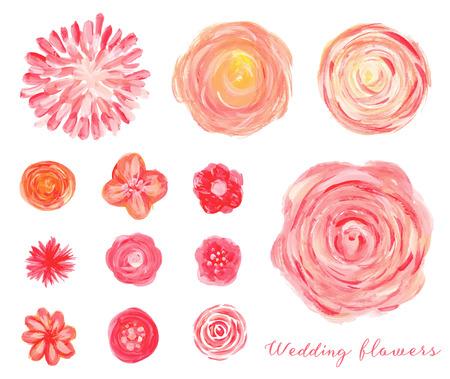 Hand getekende bruiloft bloemen in te stellen. Geïsoleerde rozen, pioenen, ranunculus.