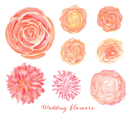 aquarelle painting art: Hand drawn wedding flowers set. Isolated vector roses, peonies, ranunculus.