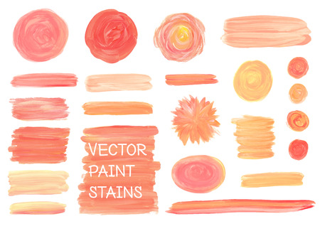 palette knife: Set of oil painting texture stains isolated on white. Make up, wedding colors.