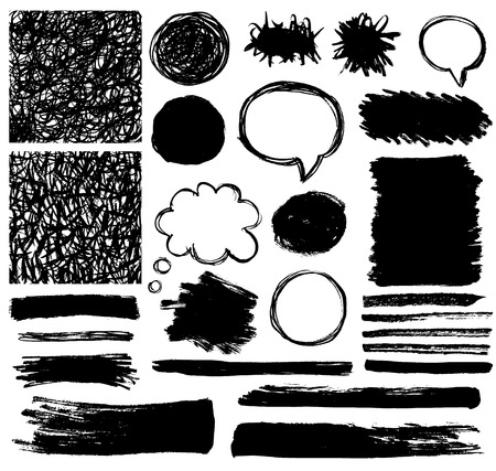 think: set of grunge black brush strokes Illustration