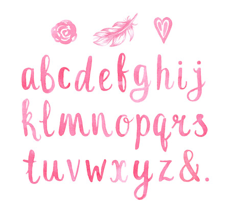 Hand drawn watercolor font for your design. Watercolor letters.