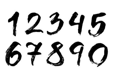 Hand drawn brush stroke numbers Stock Illustratie