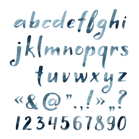 alfabeto graffiti: Mano acquerello disegnato carattere artistico