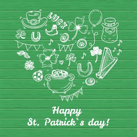leprechaun background: Hand drawn Saint Patrick day icons doodle set