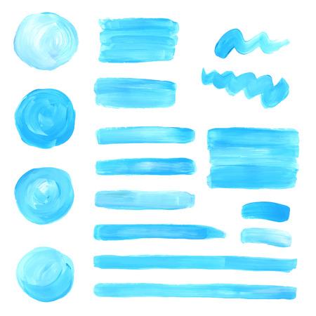 colors paint: oil paint texture stains set. Blue and green colors. Illustration