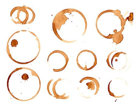 manchas de café fijadas aisladas en blanco ilustración.