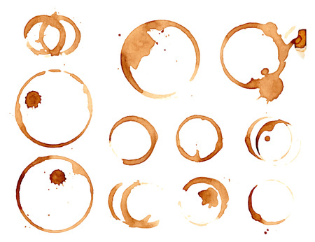dirty: coffee stains set isolated on white illustration.