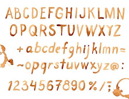 Creatieve hand getekend koffievlekken lettertype Stock Illustratie