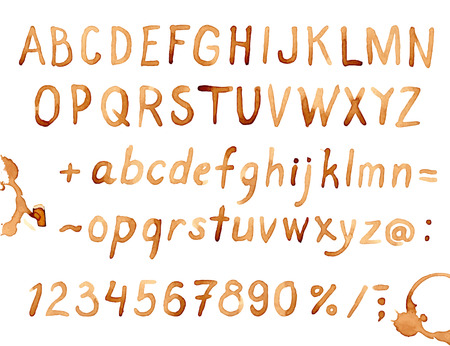 Creative hand drawn coffee stains font
