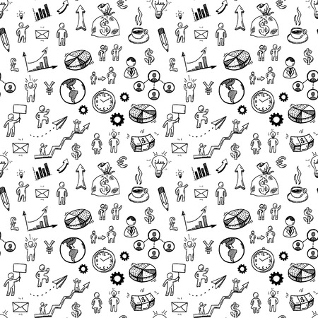 Hand drawn business doodle icons seamless pattern.