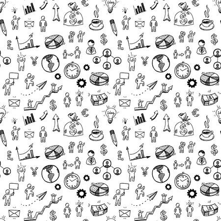 Hand getrokken zakelijke doodle pictogrammen naadloos patroon. Stock Illustratie