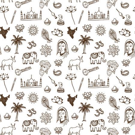 Hand drawn India seamless pattern.