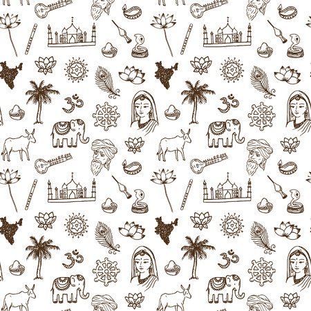 lady cow: Hand drawn India seamless pattern.