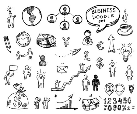 Hand drawn doodle business icons set.