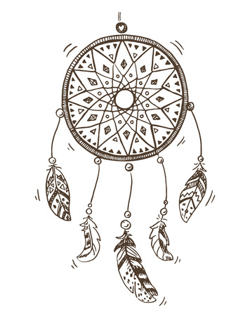 an amulet: Hand drawn illustration of a dreamcatcher.