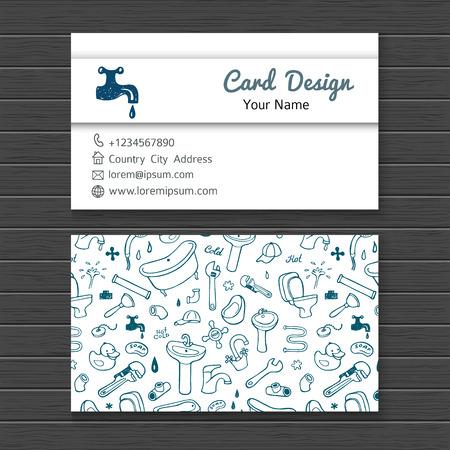 cañerías: Mano tarjeta de visita de la acuarela dibujada burlan con iconos del doodle de plomería