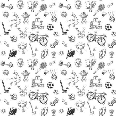 Hand drawn doodle sport seamless patter