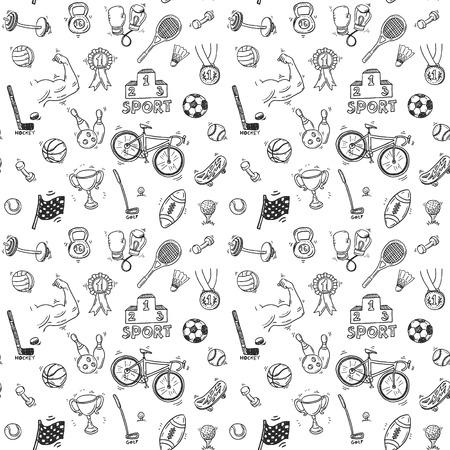 Hand getrokken doodle sport naadloos geklets Stock Illustratie