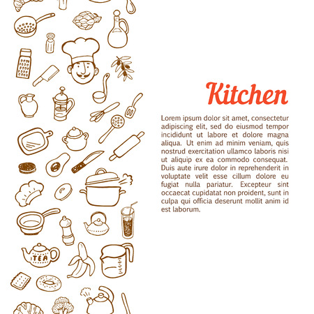 spice cake: Vertical seamless background with hand drawn kitchen set.