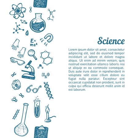 Verticale naadloze achtergrond met de hand getekende wetenschap en chemie pictogrammen.
