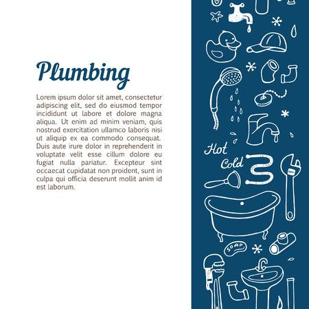 plumbing repair: Vertical seamless background with hand drawn plumbing doodle set