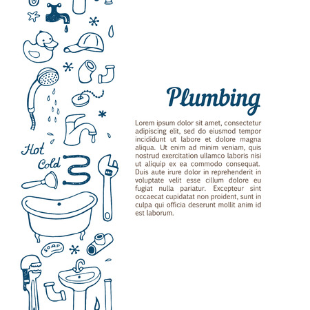 Vertical seamless background with hand drawn plumbing doodle set