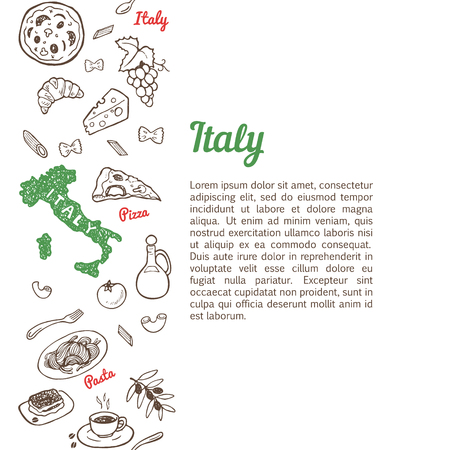 italian pizza: Vertical seamless background with hand drawn Italy food sketch set Illustration