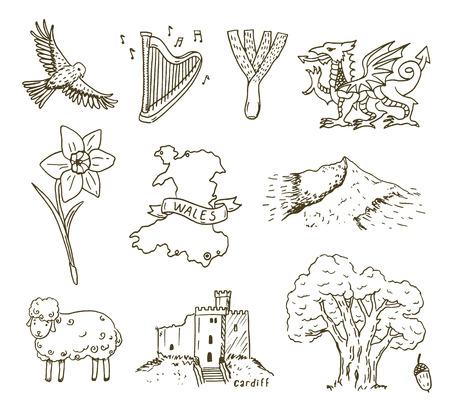 wales: Hand drawn Wales symbols sketch set.