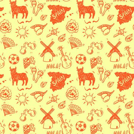 spanish fan: Hand drawn Spanish symbols doodle seamless background