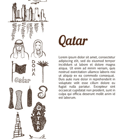 doha: Vertical seamless background with hand drawn Qatar symbols sketch set Illustration